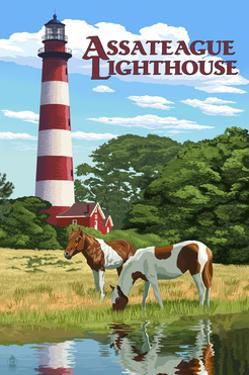 Assateague, Virginia - Lighthouse and Horses by Lantern Press