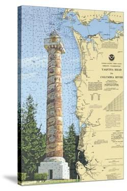 Astoria Column, Oregon - Nautical Chart by Lantern Press