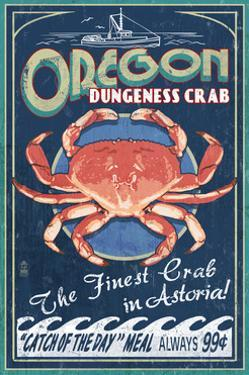 Astoria, Oregon - Dungeness Crab Vintage Sign by Lantern Press