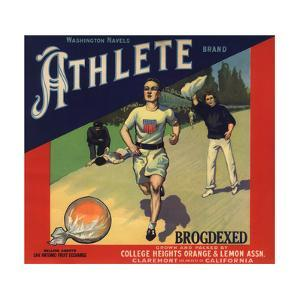 Athlete Brand - Claremont, California - Citrus Crate Label by Lantern Press