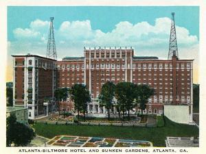 Atlanta, Georgia - Atlanta-Biltmore Hotel Exterior and Sunken Gardens View by Lantern Press