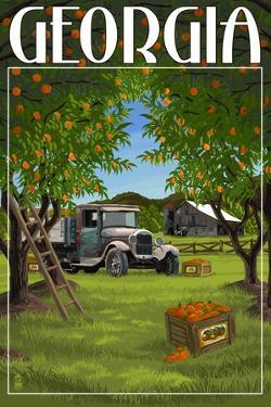 Atlanta, Georgia - Peach Orchard by Lantern Press