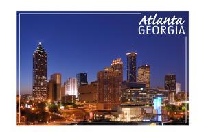 Atlanta, Georgia - Skyline at Night by Lantern Press