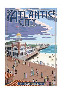 Atlantic City, New Jersey - Boardwalk by Lantern Press