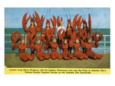 Atlantic City, New Jersey - Lobster King Harry Hackney with Lady Lobsters by Lantern Press