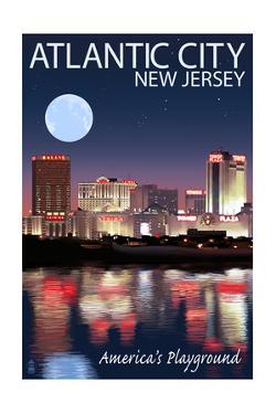 Atlantic City, New Jersey - Skyline at Night by Lantern Press