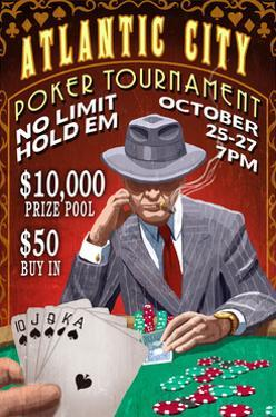 Atlantic City - Poker Tournament Vintage Sign by Lantern Press