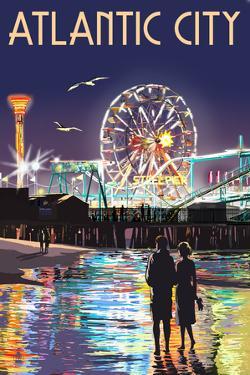 Atlantic City - Steel Pier at Night by Lantern Press