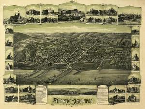 Atlantic Highlands, New Jersey - Panoramic Map by Lantern Press
