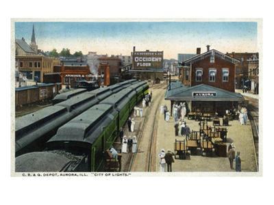 Aurora, Illinois - Chicago, Burlington, and Quincy Railroad Depot by Lantern Press