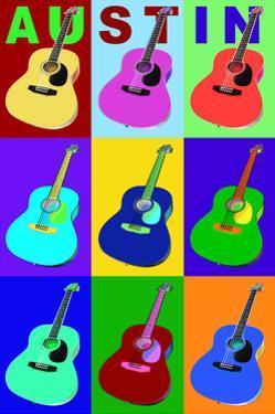 Austin, Texas - Acoustic Guitar Pop Art by Lantern Press