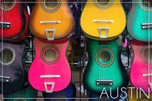 Austin, Texas - Acoustic Guitars on Wall by Lantern Press