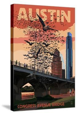 Austin, Texas - Bats and Congress Avenue Bridge by Lantern Press