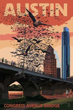 Austin, Texas - Bats and Congress Avenue Bridge by Lantern Press