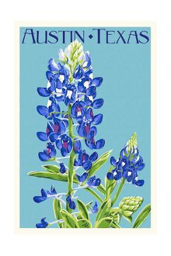 Austin, Texas - Bluebonnet - Letterpress by Lantern Press