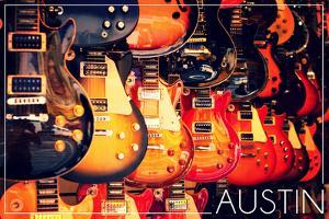 Austin, Texas - Electric Guitars on Wall by Lantern Press