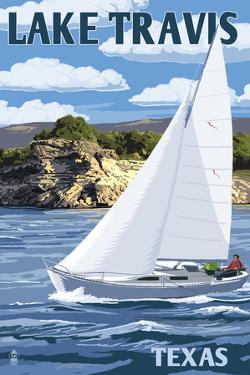 Austin, Texas - Lake Travis Sailing Scene by Lantern Press