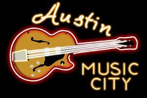Austin, Texas - Neon Guitar Sign by Lantern Press