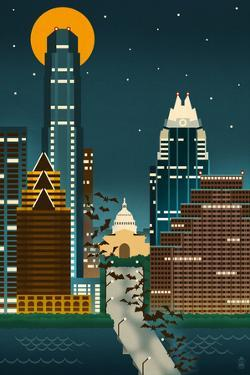 Austin, Texas - Retro Skyline (no text) by Lantern Press