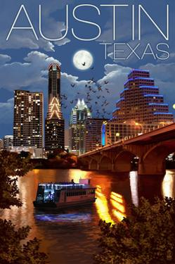 Austin, Texas - Skyline at Night by Lantern Press