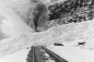 Avalanche of snow across railroad tracks Photograph - Alaska by Lantern Press