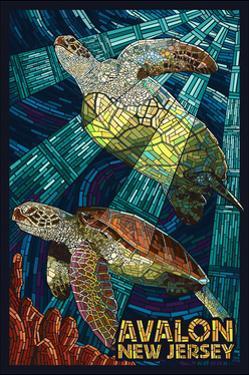 Avalon, New Jersey - Sea Turtle - Mosaic by Lantern Press
