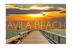 Avila Beach, California - Pier at Sunset by Lantern Press