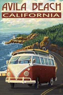 Avila Beach, California - VW Van by Lantern Press