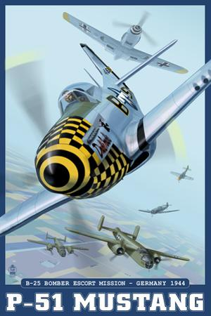 B-25 Bomber Escort Mission - P-51 Mustang, c.2008 by Lantern Press