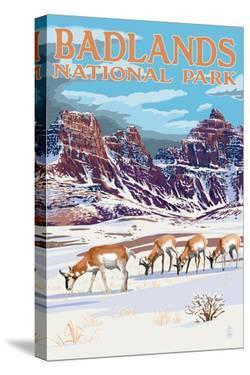 Badlands National Park, South Dakota - Antelope in Winter by Lantern Press