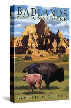 Badlands National Park, South Dakota - Bison Scene by Lantern Press