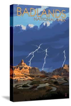 Badlands National Park, South Dakota - Lightning Storm by Lantern Press