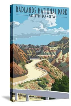 Badlands National Park, South Dakota - Road Scene by Lantern Press