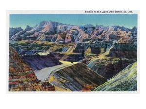 Badlands National Park, South Dakota, View of the Erosion on the Rocks by Lantern Press