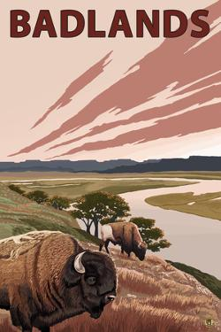 Badlands, North Dakota - Bison and Buttes by Lantern Press