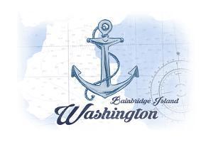 Bainbridge Island, Washington - Anchor - Blue - Coastal Icon by Lantern Press