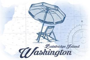 Bainbridge Island, Washington - Beach Chair and Umbrella - Blue - Coastal Icon by Lantern Press