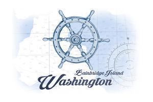 Bainbridge Island, Washington - Ship Wheel - Blue - Coastal Icon by Lantern Press