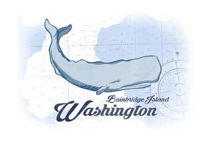 Bainbridge Island, Washington - Whale - Blue - Coastal Icon by Lantern Press