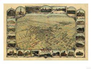 Bakersfield, California - Panoramic Map by Lantern Press