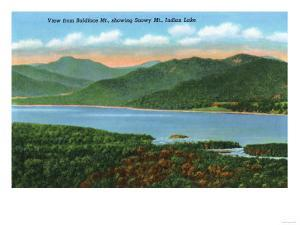 Baldface Mountain, New York - View of Indian Lake and Snowy Mountain by Lantern Press