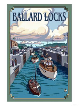 Ballard Locks and Boats, Seattle, Washington by Lantern Press