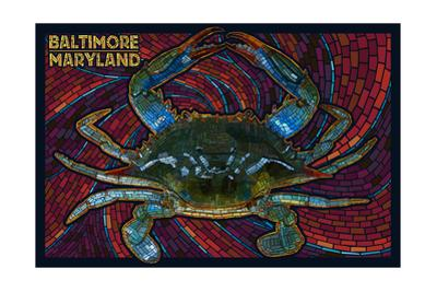 Baltimore, Maryland - Blue Crab Paper Mosaic by Lantern Press