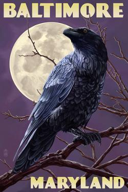 Baltimore, Maryland - Raven and Moon Purple Sky by Lantern Press