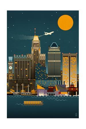 Baltimore, Maryland - Retro Skyline (no text)