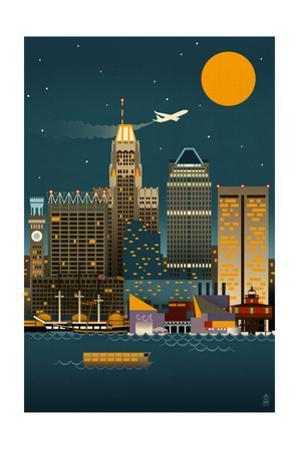 Baltimore, Maryland - Retro Skyline (no text) by Lantern Press