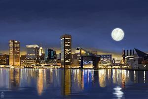 Baltimore, Maryland - Skyline at Night (#2) by Lantern Press