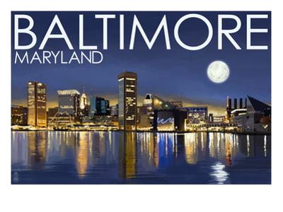 Baltimore, Maryland - Skyline at Night by Lantern Press