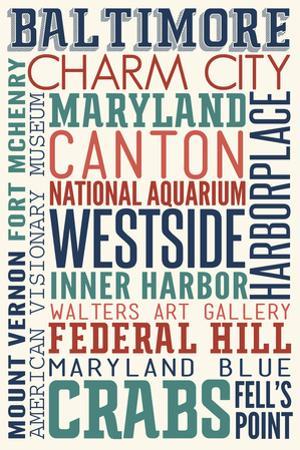 Baltimore, Maryland - Typography by Lantern Press