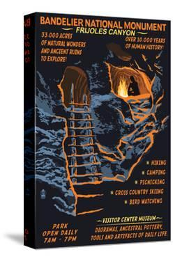 Bandelier National Monument, New Mexico - Night Scene by Lantern Press